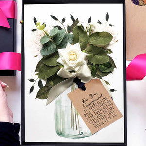 Scented ivory rose engagement bouquet card | say it with flowers | The Luxe Co