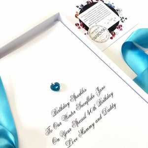 Blue zircon birthstone meaning birthday cards and gift | The Luxe co