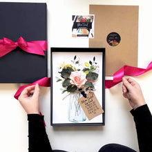 Load image into Gallery viewer, Scented blush rose bouquet handmade wedding card - theluxeco.co.uk