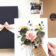 Load image into Gallery viewer, Personalised Flower anniversary cards with blush rose | The Luxe Co