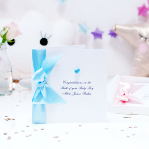 Bedazzled Swarovski Crystal Boxed New Baby Boy Card