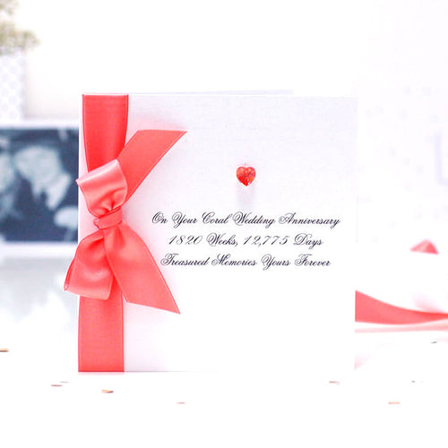Boxed Bedazzled Swarovski Crystal Coral Anniversary Card | The Luxe Co