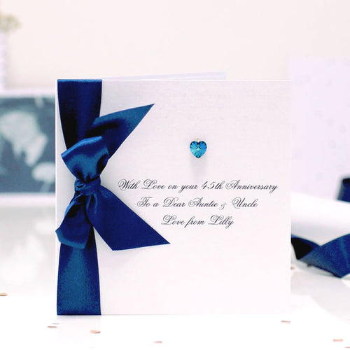 Boxed Bedazzled Swarovski Crystal Sapphire Anniversary Card | The Luxe Co