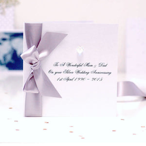 Boxed Bedazzled Swarovski Crystal Silver Anniversary Card | The Luxe Co