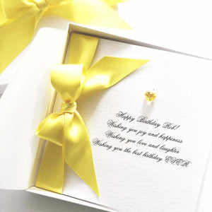 November Birthstone Citrine Swarovski Crystal Boxed Bedazzled Birthday Card