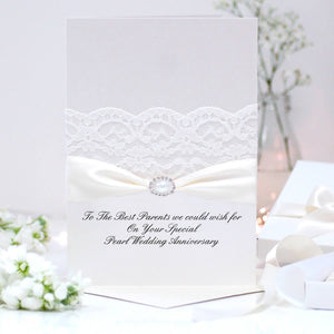 Elegant Wedding Anniversary card pearl - theluxeco.co.uk