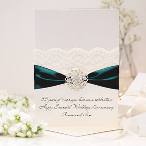 Emerald Opulence Personalised 55th wedding anniversary card - theluxeco.co.uk