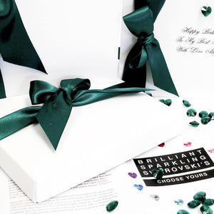 Emerald Boxed Birthday Card with silky emerald green ribbon gift box