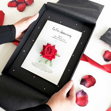 Load image into Gallery viewer, Personalised Ruby Red rose 40th anniversary cards for my wife | The Luxe Co