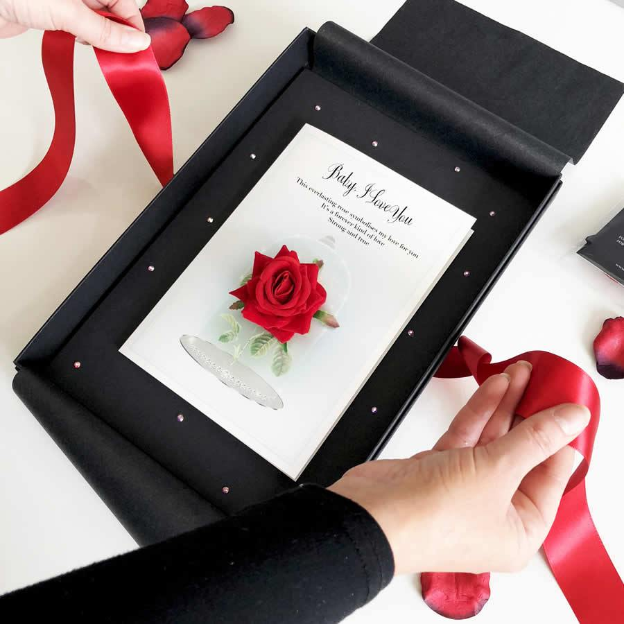 Romantic Valentines Day card with scented red rose | The Luxe Co