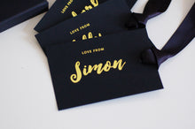 Load image into Gallery viewer, Personalised Luxury Black and Gold Foiled Gift Tags