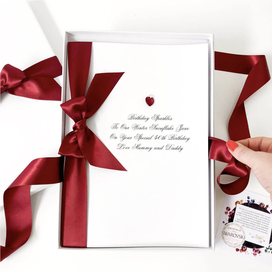 Gorgeous deep garnet birthstone birthday cards for January birthdays handmade with birthstone for January Garnet | The Luxe Co