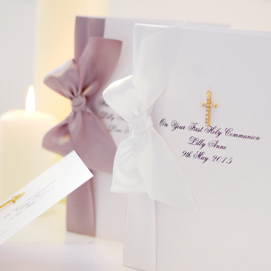 Gold Diamante Cross Boxed Religious Card - theluxeco.co.uk