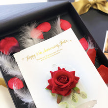 Load image into Gallery viewer, Gold Foil Fairytale Scented Red Rose Personalised Card
