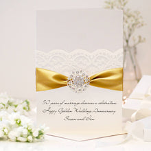Load image into Gallery viewer, Golden Opulence Personalised 50th wedding anniversary card - theluxeco.co.uk