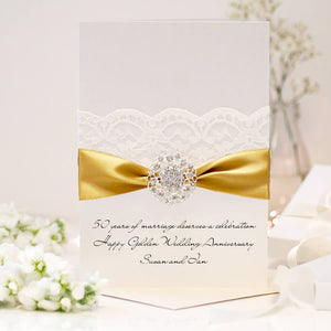 Golden Opulence Personalised 50th wedding anniversary card - theluxeco.co.uk
