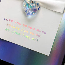 Load image into Gallery viewer, Holographic Moon Charged Crystal Positivity Card - theluxeco.co.uk