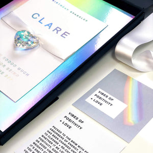 Holographic Moon Charged Crystal Positivity Card - theluxeco.co.uk