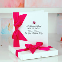 Load image into Gallery viewer, Boxed Wedding Card with Swarovski crystal in hot pink | The Luxe Co