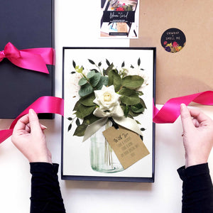 Special card in gift box with scented rose for engagements | The Luxe Co