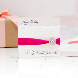 Lace & Crystal Hot Pink Personalised Sparkly Wedding Card - theluxeco.co.uk