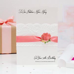 Lace and Rose Boxed Flower Engagement Card