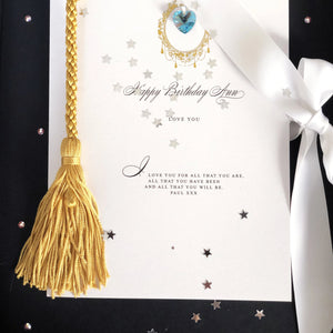 Birthstone Luxe Tassle March Gift Boxed Card