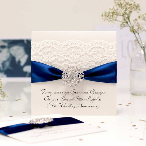Star Sapphire Opulence Luxury 65th wedding anniversary card - theluxeco.co.uk