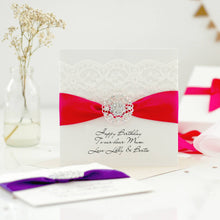 Load image into Gallery viewer, Opulence luxury personalised birthday cards with crystal lace and ribbon | The Luxe Co