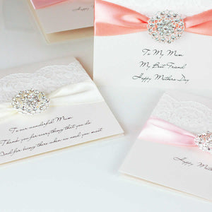Personalised christening cards with handmade luxury lace | The Luxe Co