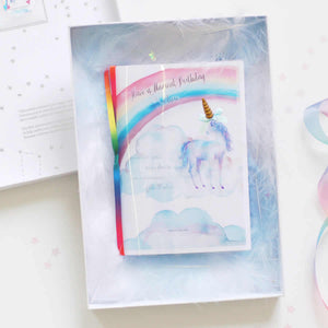 Boxed unicorn birthday cards for first birthday | The Luxe Co