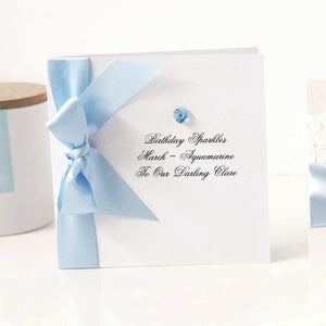 Aquamarine march birthstone gift boxed card | The Luxe Co