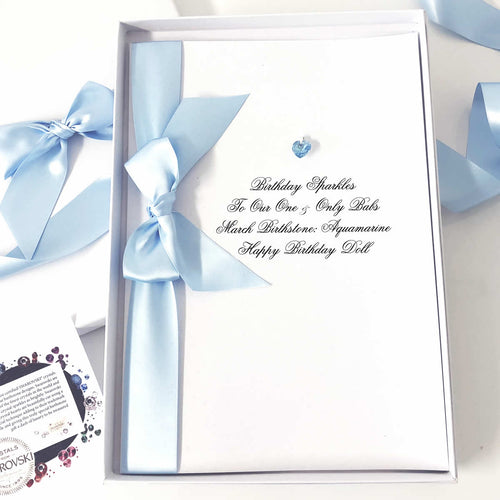 March birthstone card | Aquamarine pale blue crystal | The Luxe Co