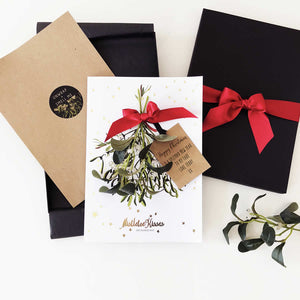 Mistletoe kisses christmas card for wife | The Luxe Co