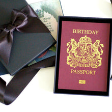 Load image into Gallery viewer, Personalised Foiled Birthday Passport Card for Surprise Holidays / Trips
