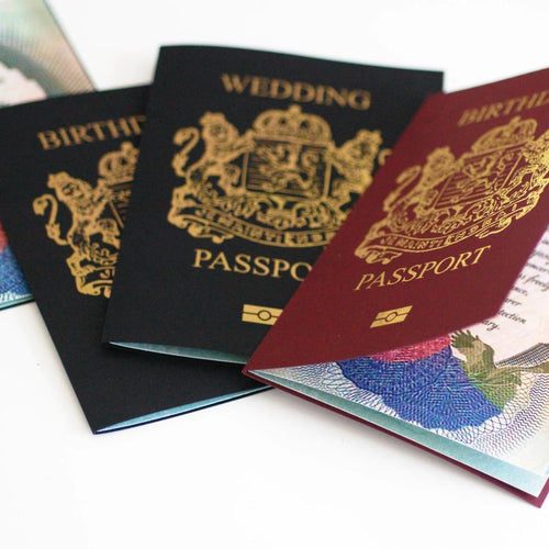 Personalised Foiled Wedding Passport Card