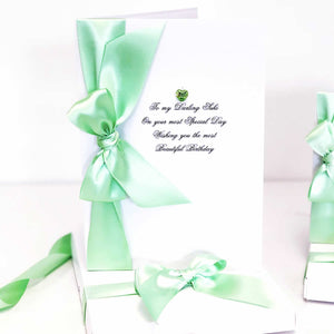 Birthstone cards and gifts for August Peridot by The Luxe Co