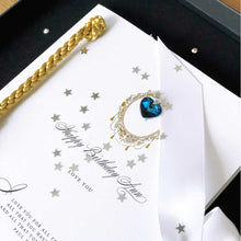 Load image into Gallery viewer, Personalised birthstone birthday cards for September birthdays personalised in in Sapphire  | The Luxe Co