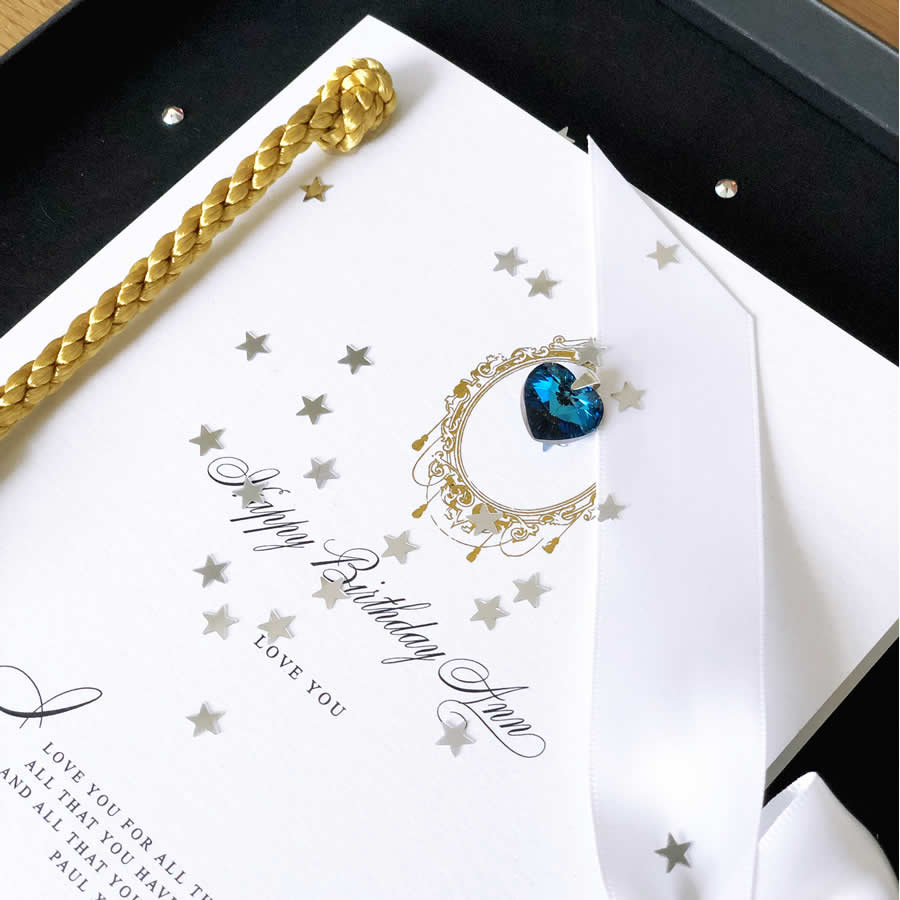Personalised birthstone birthday cards for September birthdays personalised in in Sapphire  | The Luxe Co