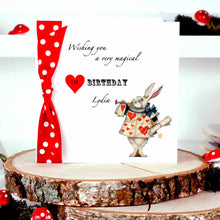 Load image into Gallery viewer, Personalised Alice In Wonderland Birthday Card - theluxeco.co.uk