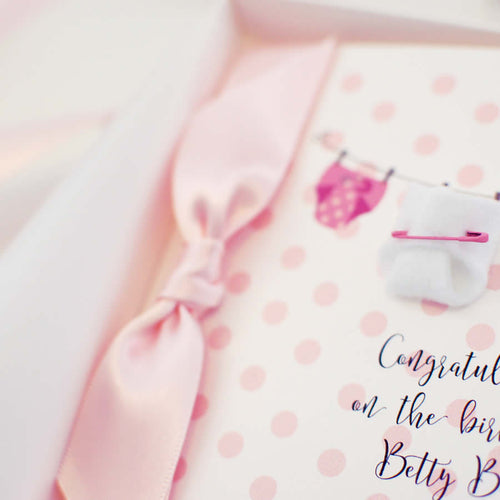 Personalised new baby girl congratulations cards | The Luxe Co