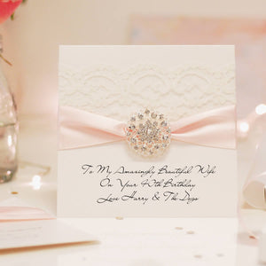Luxury lace birthday cards handmade with pink sash and lace | The Luxe Co