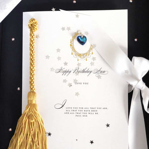 Sapphire birthstone birthday cards with gold tassle | The Luxe Co