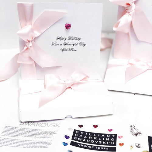 Pink tourmaline birthday cards for October birthdays | Birthstone cards handmade by The Luxe Co