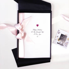Load image into Gallery viewer, Super sized birthday cards with pink ribbon and pink Swarovski crystal by The Luxe Co | Exceptionally gorgeous cards
