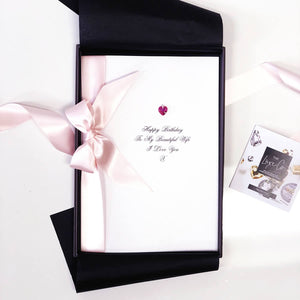 Super sized birthday cards with pink ribbon and pink Swarovski crystal by The Luxe Co | Exceptionally gorgeous cards