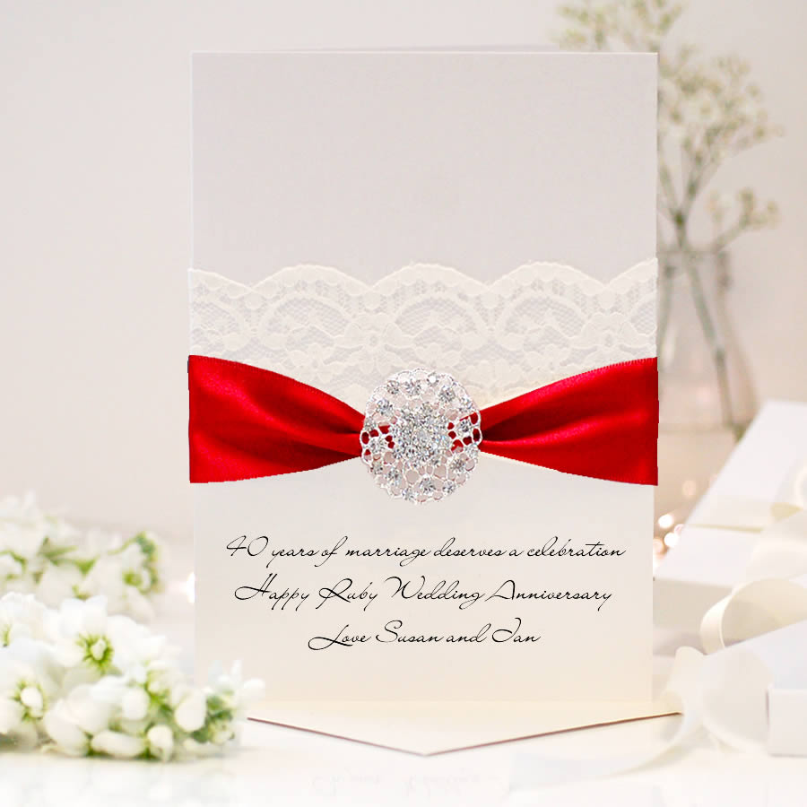 luxury 40th anniversary card for ruby weddings  the luxe co