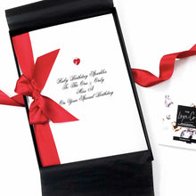 Load image into Gallery viewer, Ruby birthday sparkles card with meaning for the ruby birthstone | The Luxe Co