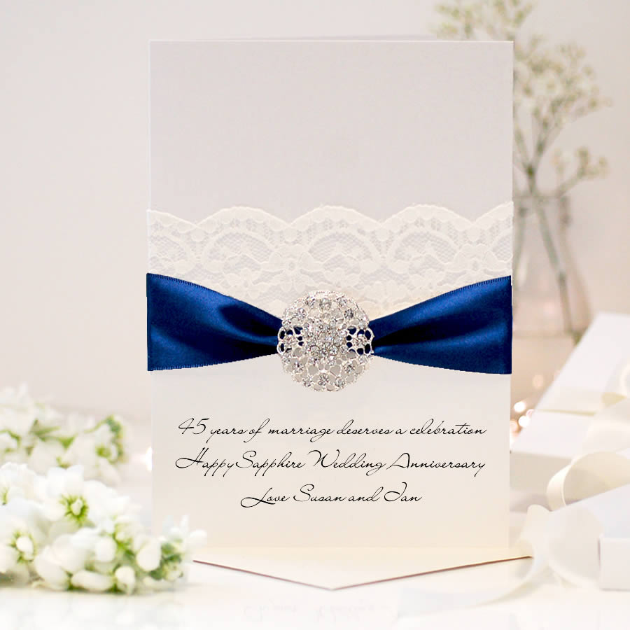 Sapphire Opulence Luxury 45th wedding anniversary card - theluxeco.co.uk