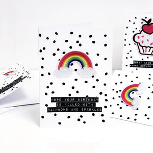 Polka dots and rainbow card for Mothers Day